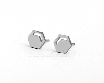 Geometric Beehive Hexagon Stainless Steel Stud Earring Post Finding (ES020)