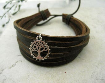Leather Bracelet Chinese Tree of LIfe