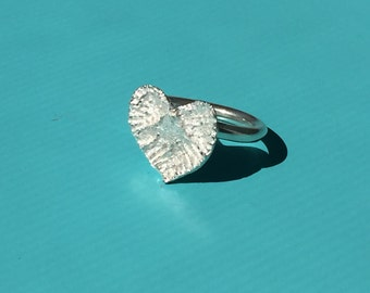 Heart-shaped bone statement ring -- silver