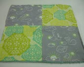 Whales You Are My Sunshine Mint Lime Gray Four Square Baby Minky Burp Cloth 12 x 12 READY TO SHIP On Sale