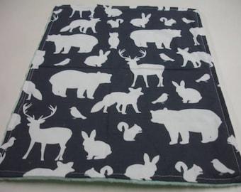 Navy Woodland Animals Minky Baby Burp Cloth 12 x 16 READY TO SHIP On Sale