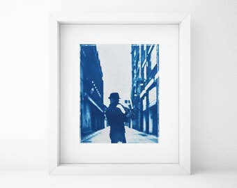 Cyanotype, Saxophone Player, Musician, Portrait, Original, Blue, Cyan, Home, Gift for Musician, Fine Art Gift, Polaroid, Photography