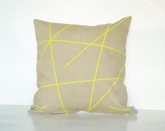 Boho decor pillow, Nursery pillow, Pattern print pillow, Spring decor pillow, Lemon yellow pillow, Urban pillow cover,  Spring home decor