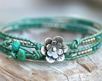 Mint Green Crystal Sterling Silver Beaded Leather Wrap Bracelet, Double Leather Wrap, Skinny Leather Wrap Bracelet, Leather Bracelet