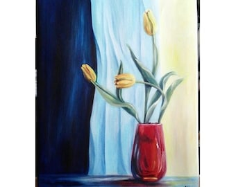 """REDUCED Oil Painting Yellow Tulips in Red Vase 16""""x 20"""" READY to SHIP"""