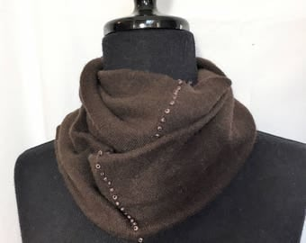 Infinity Cashmere Wool Scarf made from an upcycled chocolate brown sweater