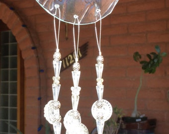 Butterfly Windchime Iridescent Clear Glass