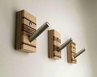Wall Hooks, Wood, Metal, Modern Home, Bath, Home Organization, Housewarming, Recycled Wood, Set of Three