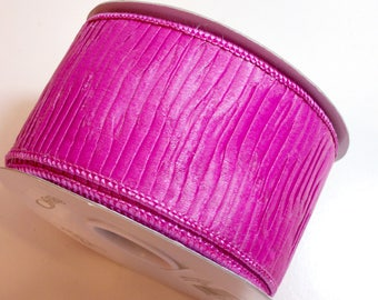 Ruched Ribbon, Fuchsia Pink Wired Fabric Ribbon 2 1/2 inches wide x 10 yards, Full Bolt, Offray Lita Ribbon