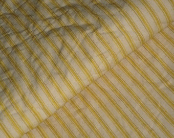 Coffee Dyed Ticking Stripe Material | Yellow Ticking Material Coffee Dyed | 63 x 41 | Primitive Ticking Material