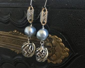 Swirl Silver Blue Vintage Repurposed Earrings Jewelry