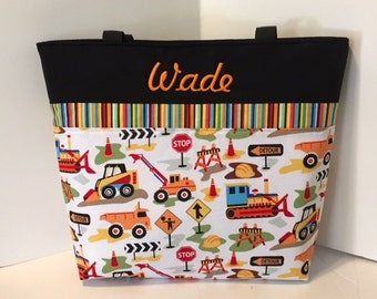 Personalized Diaper bag . Dig It and Orange . Weekender / XL Size . Monogrammed FREE .  boy diaper bag
