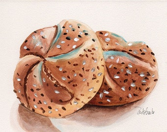 Fine art Print from original watercolor by Redstreake, bread fresh baked baking dessert kitchen 2 sizes
