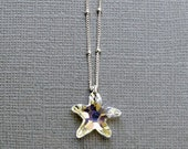 30% OFF SALE Crystal Starfish Necklace, Clear AB Swarovski Crystal, Sterling Silver, Gift under 40, Gift for Her