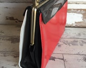 Vintage Kelly Bag Convertible Purse -  Red Black Patent Leather and White Vinyl - 3 in 1 Handbag