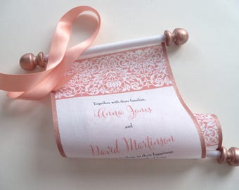 Rose gold wedding invitation, peach wedding invitation, fabric scroll, romantic invitation, set of 10