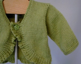 Holiday Sale Baby Girl Sweater lime green 12 month Ready to Ship