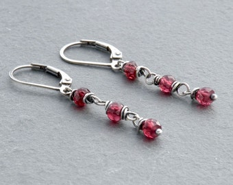 Faceted Rhodolite Red Garnet Dangle Earrings with Sterling Silver Lever Back Ear Wires; January Birthstone, #4719