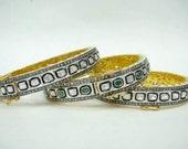 Queen of your world 3.2 carat diamond slice rose cut polki kundan style sterling silver gold plate overlay custom hinge bracelet bangle cuff