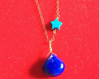 Into the blue necklace vibrant lapis lazuli heart briolette turquoise star goldfilled sterling silver necklace