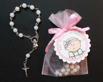 Baptism Favors - Mini Rosary Favors - Baby Girl - Christening Favors - Baby Girl with Headband - Set of 50