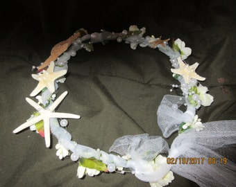Beach Wedding,Circlet, Headpiece,Bridal, Flowers, Starfish, Pearls, Tulle. Parties, Events