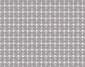 Riley Blake Anchors Gray Fabric, 1 yard