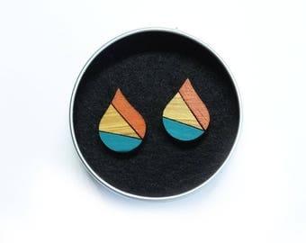 Geometric Jewellery, Laser Cut Earrings, Rain Drop Earrings, Geometric Earrings, Retro Earrings, Mid Century Mix, Orange and Turquoise