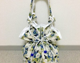 Drawstring Purse --- The Secret Garden- Blue