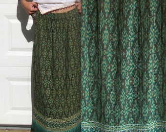 Folk Skirt . Accordion Pleated Skirt . green skirt . accordion pleats