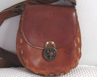 tooled leather bag . rugged leather shoulder bag . shoulder bag