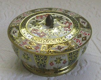 english tea tin . crown derby . crown derby tea tin . footed tin . crown derby tin