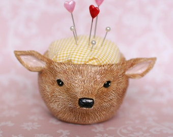 Ceramic Deer Pincushion Pot