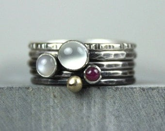 Hammered Silver Stacking Rings with Moonstones, Ruby and Gold, Stackable Gemstone Rings