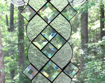 """Stained Glass Suncatcher Panel - Bevels and Clear Textured Glass - 7"""" x 14"""""""