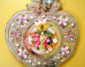 Quan Yin Follow your Bliss  mosaic milagro mirror heart shrine altar sacred wall art