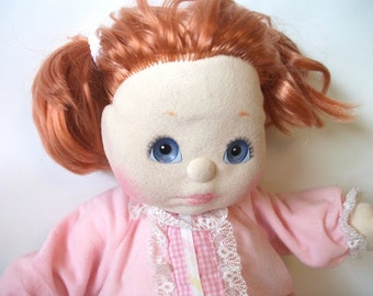 Vintage 1985 Mattel My Child Doll with Red Strawberry Hair Blue Eyes with Sleeper Clothing