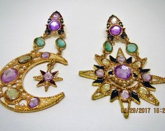 Sun and moon dangle earrings, rhinestone and pearl earrings