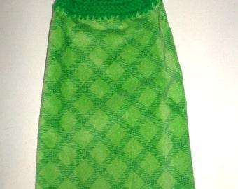 Green Hanging Towel, Diamond Pattern, Crochet Top Towel, Hanging Dish Towel, Light & Dark Green, Plush Towel, Kitchen Dish Towel, Hand Towel