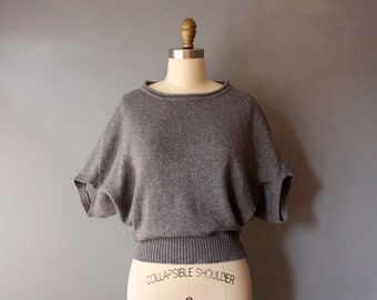 vintage grey sweater / lambswool angel wing pullover / small