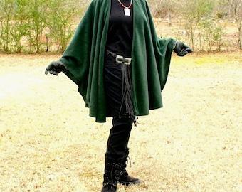 Hunter Green Anti Pill Fleece Ruana, Yoga Wrap, Poncho, Wrap, Prayer Cape, Shrug, Coverup or Shawl--One Size Fits Most
