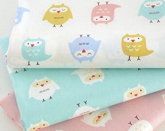 4333 - Colorful Owl Cotton Fabric - 62 Inch (Width) x 1/2 Yard (Length)