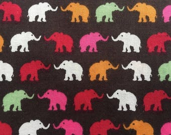 4556 - Colorful Elephant Cotton Fabric - 57 Inch (Width) x 1/2 Yard (Length)