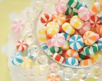 15 pcs Polymer Clay Candy Cabochon (10-13mm) CD649