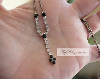 Black and Clear Rhinstone drop pendent necklace