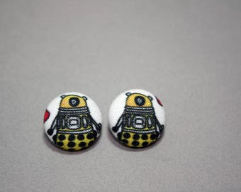 Dalek Button Earrings - Doctor Who Doodle - Post Fabric Covered Studs