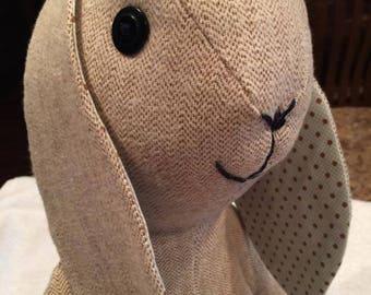 Tan Tweed Vintage-Look Bunny Rabbit
