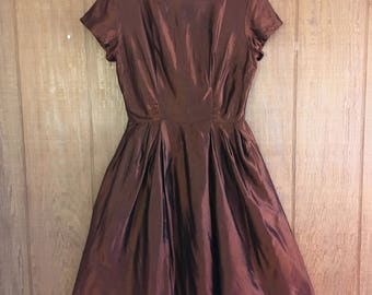 Vintage 50s metallic copper brown new look party dress size M