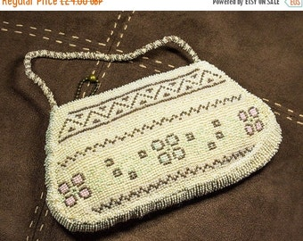 NOW  ON SALE Vintage 1930's Czech Cream Beaded Purse ,Dance Purse With Zipper 1930s,Evening Bag, Summer Wedding, Gift For Her