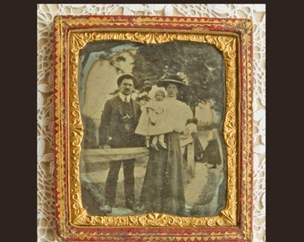 NOW  ON SALE Antique  Cased Ambrotype ,Victorian Family Group, Antique Home Decor,1890 -1900